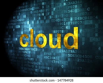 Cloud technology concept: pixelated words Cloud on digital background, 3d render