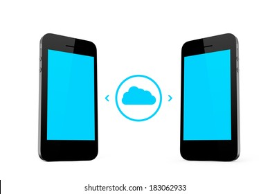 Cloud technology concept, smart phones with blank screen, isolated on white background.