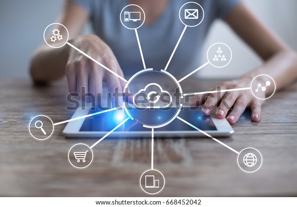 Cloud technology. Data storage. Networking and internet service concept.