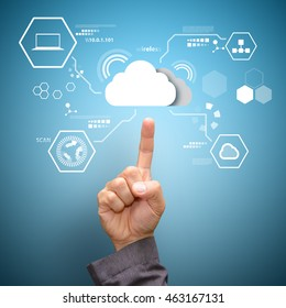 Cloud Technology in the hands of businessmen