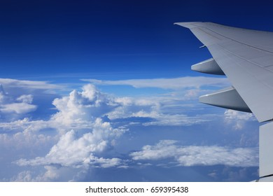cloud in white color and kinds of shape on the sky during the air plane for background./beautiful cloud/shaps of cloudy,blue sky