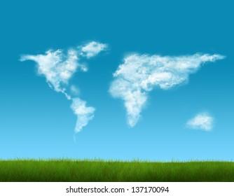 Cloud world map on blue sky