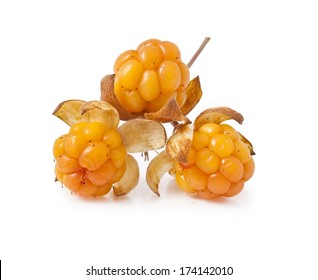 Cloudberry, close-up isolated on white background