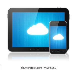 Cloud-computing connection on digital tablet pc and modern smart phone. Conceptual image. Isolated on white.