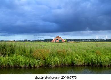 clouded sky over Dutch farmland, Netherlands