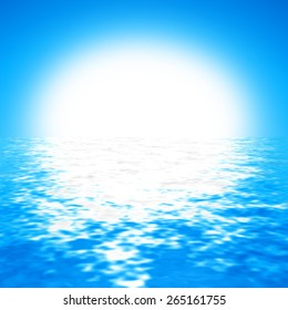 cloudless blue sky background with bright sun and crystal clear water