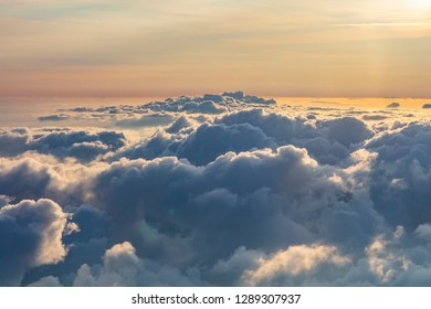 clouds from above at sunset