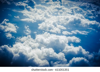 Clouds from above. View from airplane.