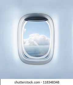 clouds in the aircraft's porthole
