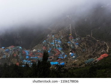 Clouds around Namche Bazaar in Nepal