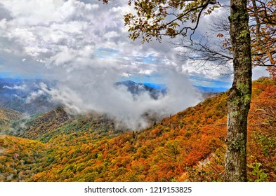 Clouds atop the Smoky Mountains in autumn.