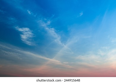 Clouds with blue sky in evening