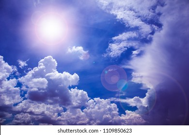 Clouds with blue sky and summer sun, Nature airscape