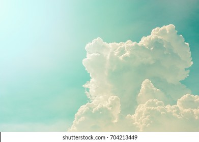 clouds and blue sky with sunlight, nature background, vintage tone
