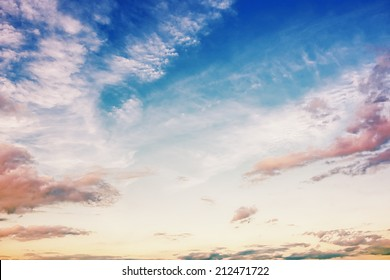 Clouds and blue sky at sunrise / sunset