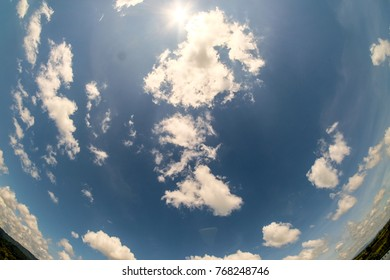 Clouds and blue sky take a photo by fisheye lens, background in sunny day