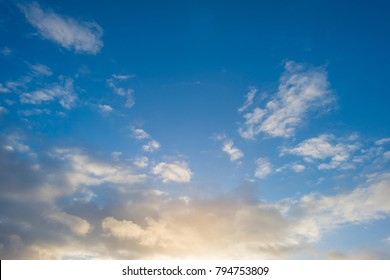 Clouds in a blue sky in winter