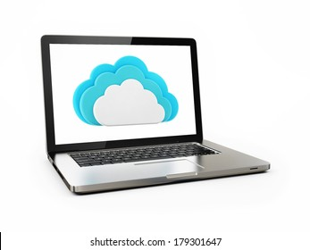 Clouds Computing Concept Laptop Connecting on White Background