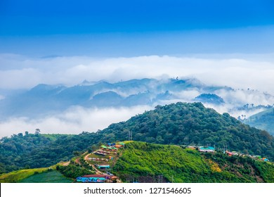 Clouds covering beautiful valleys and the road to Phu Thap Boek  mountain in rainy season, Phetchabun Province,Thailand