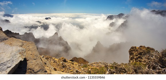 Clouds in the crater Caldera de Taburiente, Island of La Palma, Canary Islands, Spain