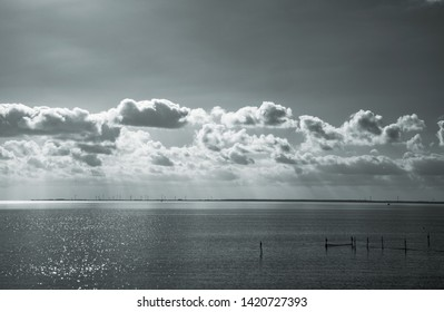 Clouds drifting over the IJsselmeer, now the biggest lake in the Netherlands. The picture was taken from the Afsluitdijk (the closing dike)