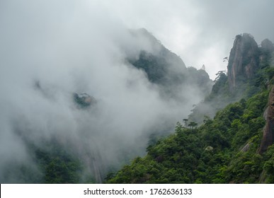 Clouds are floating in the valley of Sanqing mountain