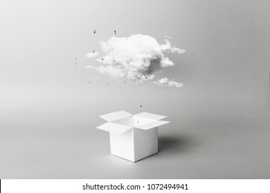 clouds fly out of white box