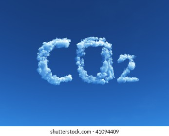 clouds forms the symbol co2 - 3d illustration