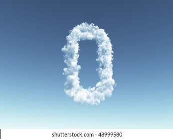 clouds forms the uppercase letter o in the sky - 3d illustration