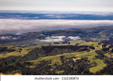 Clouds Hang Low over the Rolling Hills of Portola Valley outside of Silicon Valley, California, USA