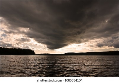Clouds hanging low in the sky in Saimaa lake district