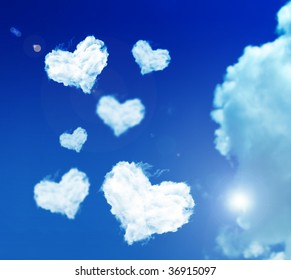 lot of clouds of heart on the sky