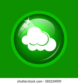 Clouds icon. Internet button on green background.