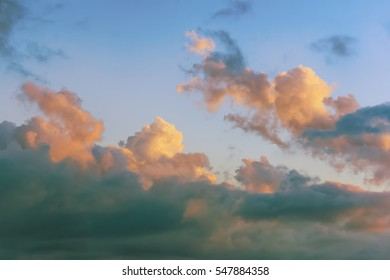 Clouds illuminated by the setting sun