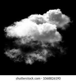 Clouds isolated over black background, illustration, drawing, 3D computer generated fluffy cloud shape
