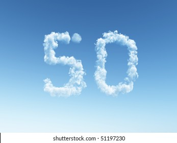 clouds makes the shape of number fifty - 3d illustration