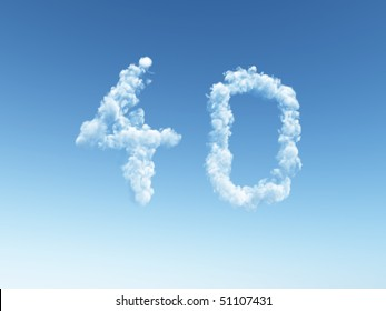 clouds makes the shape of number forty - 3d illustration