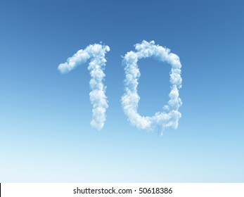 clouds makes the shape of number ten - 3d illustration