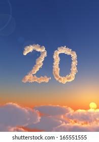 clouds makes the shape of number twenty - 3d illustration