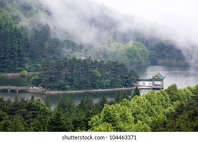 clouds and mist floating in the lake,a famous tourist attraction in lushan, China