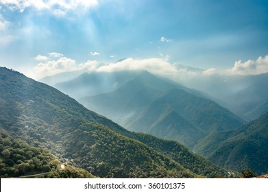 clouds  and mist over  the mountains of Sequoia National Park , California, USA