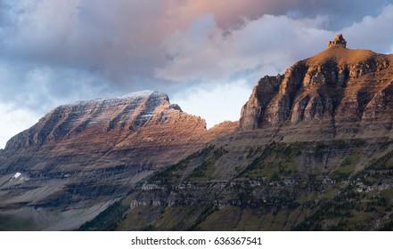 Clouds Move Over Mountains Logan's Pass Glacier National Park