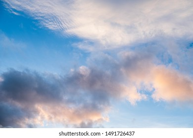 Clouds near sunset before rain blue sky