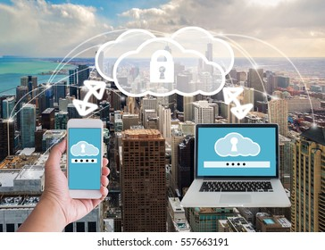 Clouds and network security concept on chicago city with connection concept