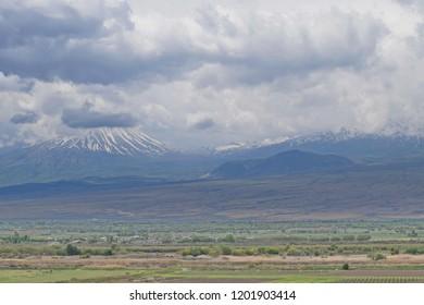 Clouds over Ararat plain and Mount Sis (Lesser Ararat or Little Ararat), Armenia
