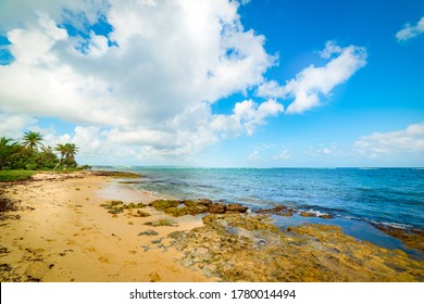 Clouds over Autre Bord beach in Le Moule, Guadeloupe. Guadeloupe is a archipelago of French West Indies in Lesser Antilles, Caribbean sea