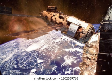 Clouds over Brazil form the Mir Space Station. The delta of the giant Amazon River is at frame center. Elements of this image furnished by NASA. - Shutterstock ID 1202569768