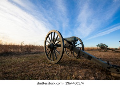 Clouds over cannons on the battlefield