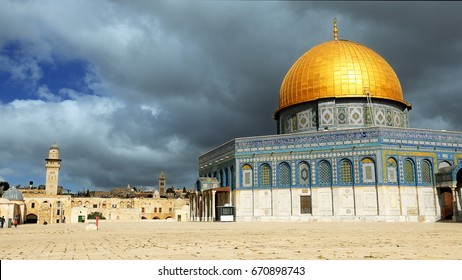 Clouds over Dome of the Rock in Jerusalem over the Temple Mount. Golden Dome is the most known mosque and landmark in Jerusalem and sacred place for all muslims.