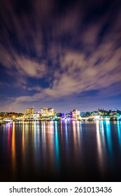 Clouds over the harbor at night, seen from the Via Lido Bridge, in Newport Beach, California.